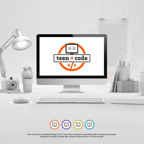 Create a memorable lively logo for Teen=Code, coding workshops for teenagers