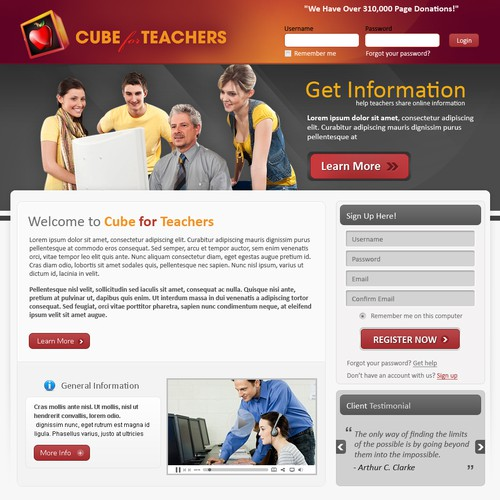 Cube For Teachers needs a new Web Page Design