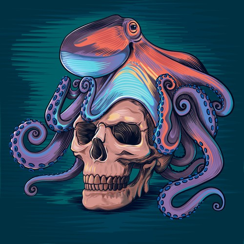 Octopus skull illustration