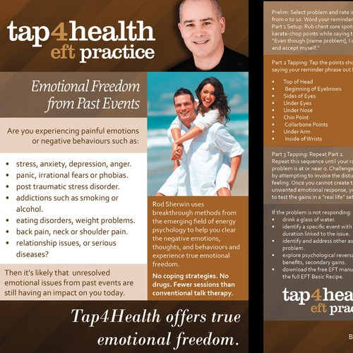Tap4Health: EFT On a Page - A5 Double Sided Card Design