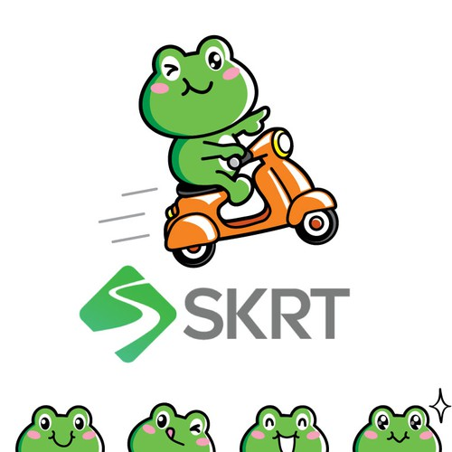 Make a cute/friendly frog for a scooter sharing platform.