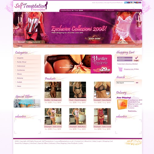 Self Temptation an Exciting new Lingerie & Erotic Costume ECommerce Website & Logo design needed