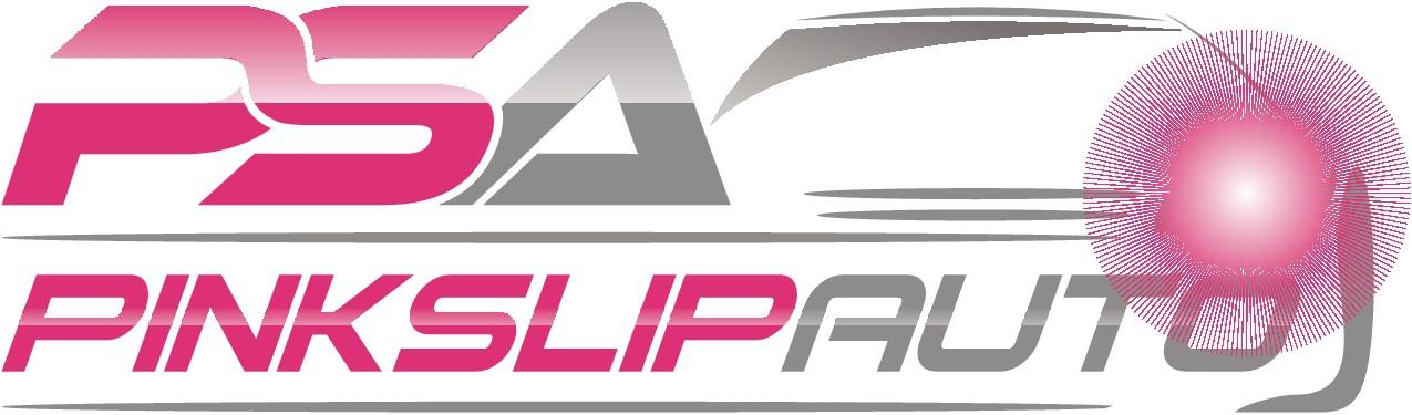 Create a fun, energetic, logo for PinkSlipAuto. A car classified site.
