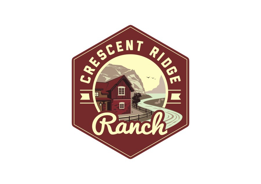 Classic logo for luxurious home sites with a view - Crescent Ridge Ranch