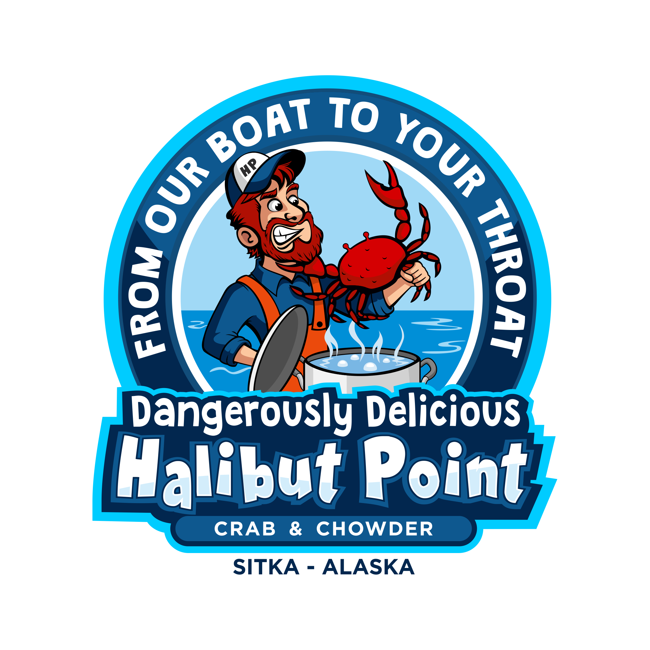 From our boat to your throat! Crab vs Fisherman logo for our seafood company that tourists will love