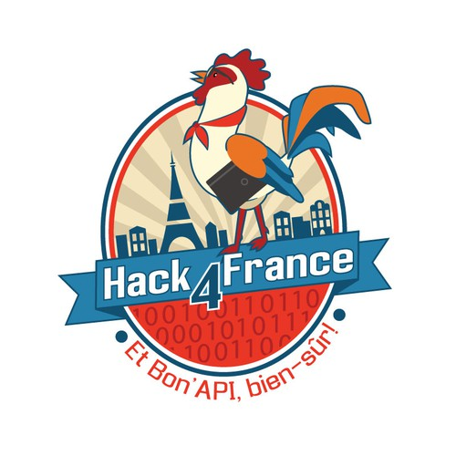 Create an illustrated logo for Hack4France