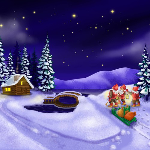 Starry winter night with cottage