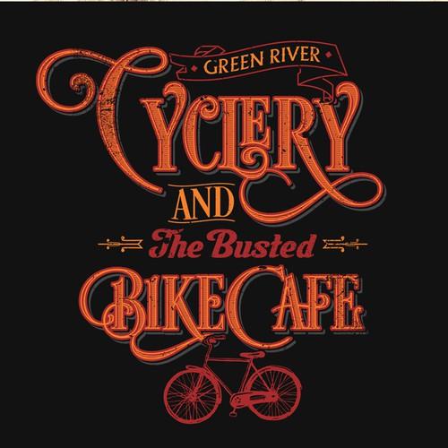 Create a t-shirt worthy logo design for our bike cafe, a trendy bike shop