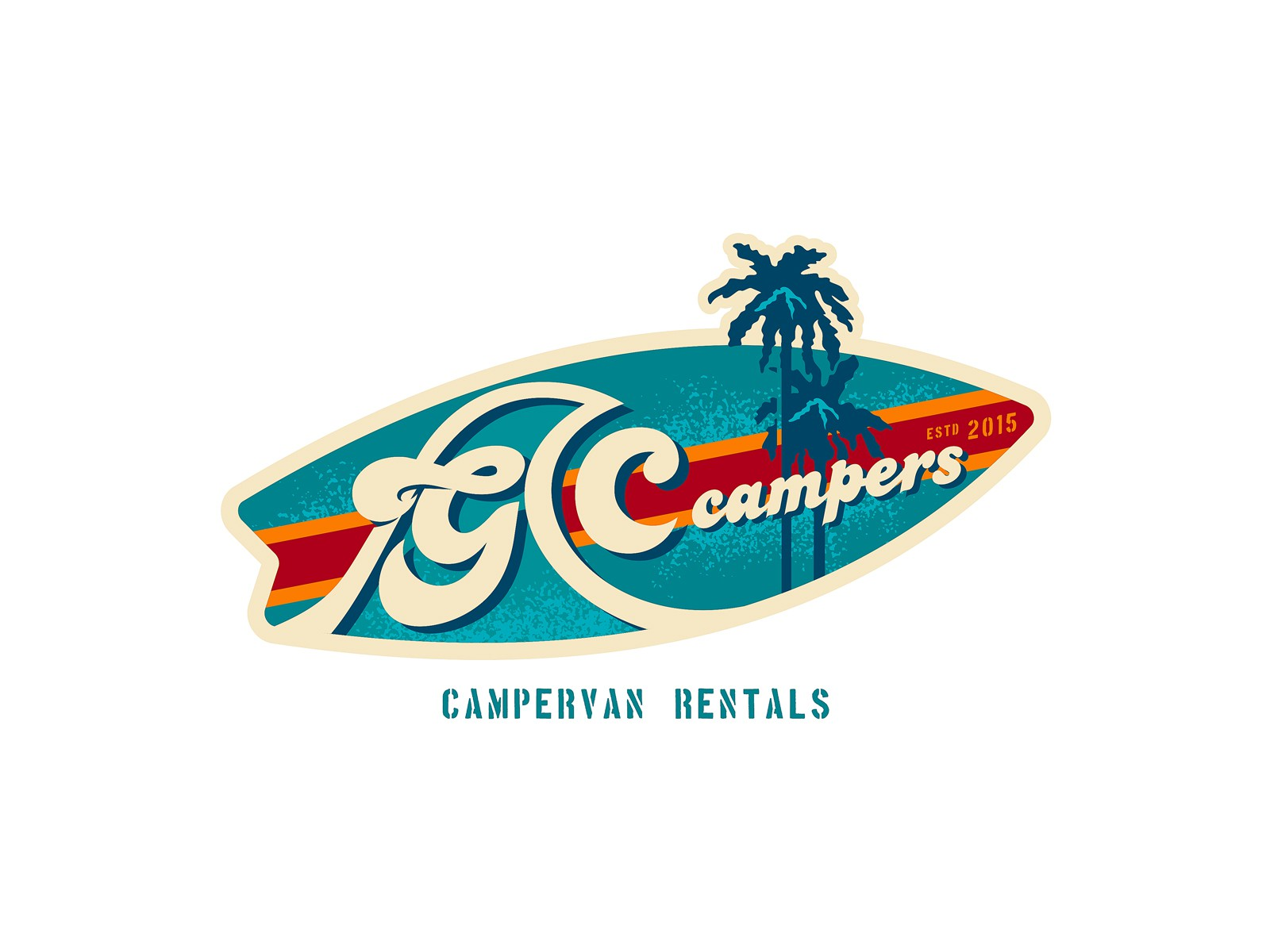 Create a capturing Vintage Surfer Campervan Hire Rental Company