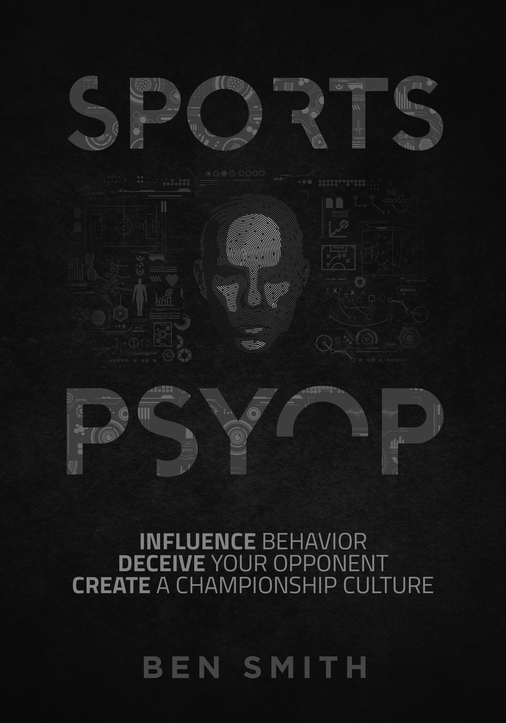 """Sleek and Deceptive book design for book called """"SPORTS PSYOP"""""""