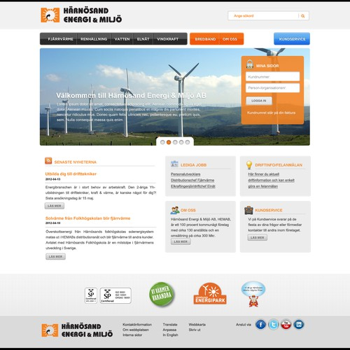 New website design wanted for Härnösand Energi & Miljö AB (HEMAB)