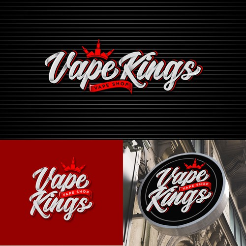 Vape Kings. Vape Shop Logo Design.