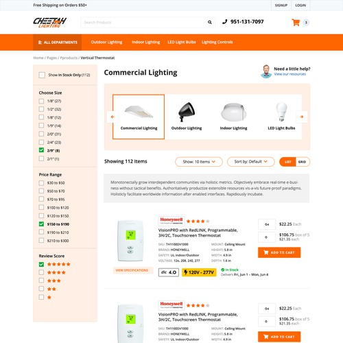 Web Design for Lighting Company