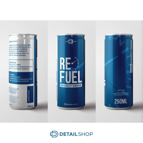 refuel enerfy drink label design
