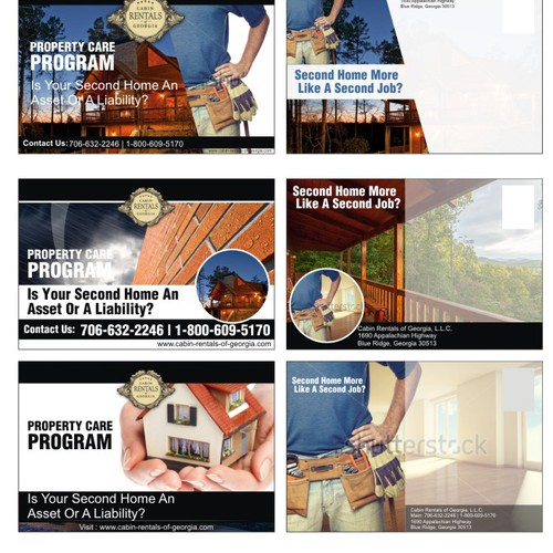 Create eye-cathing marketing ads and post cards for a property management company!