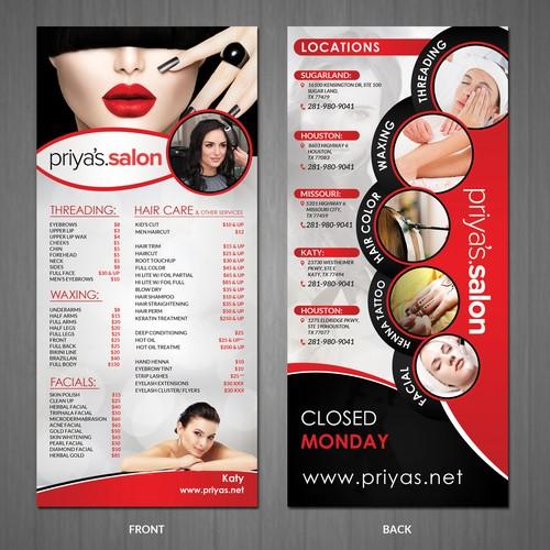 price list rack card for a Salon!