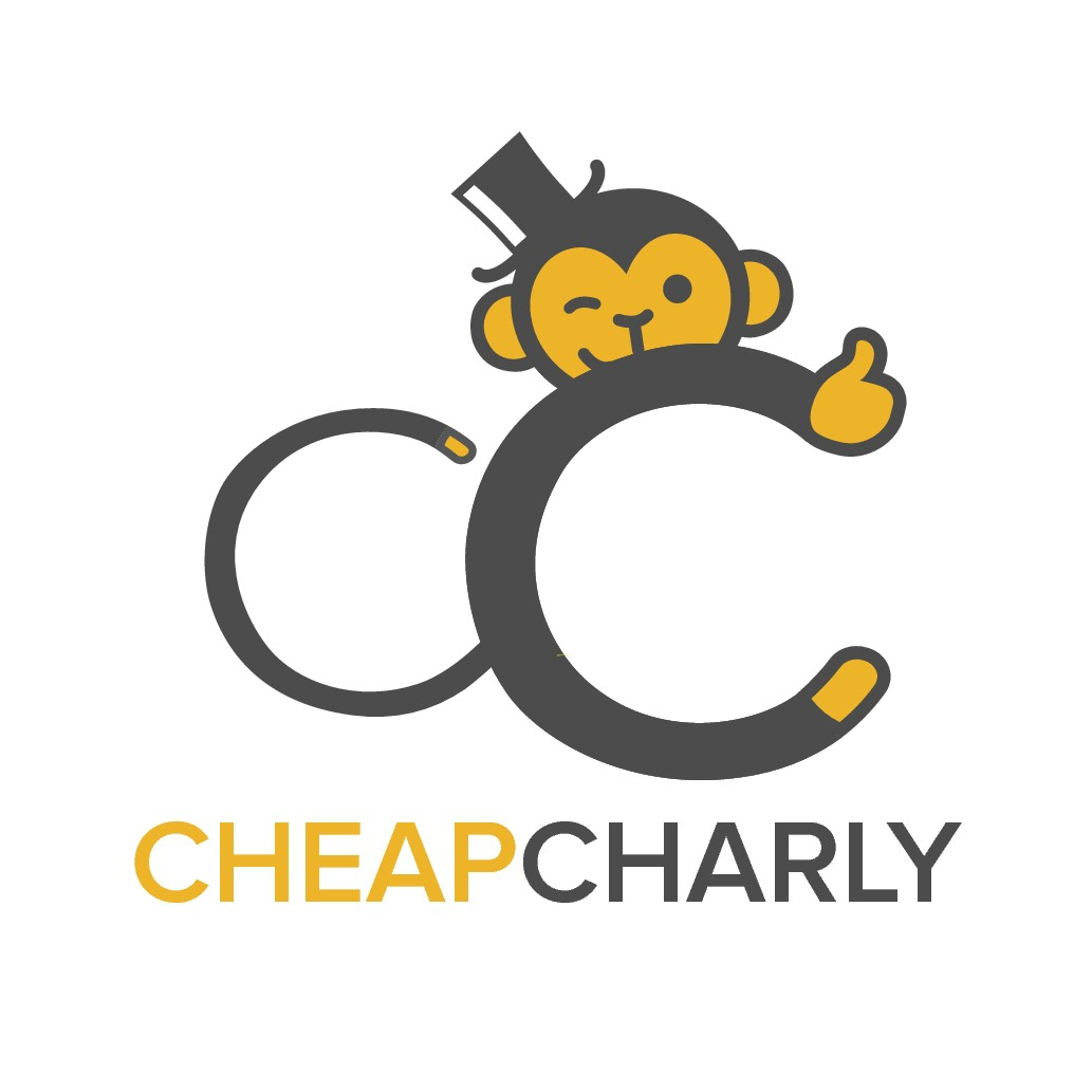 Design a logo with a mascot that matches the name CheapCharly (webshop)