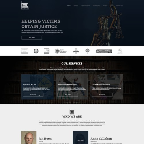 Home page / Landing page for a injury law firm