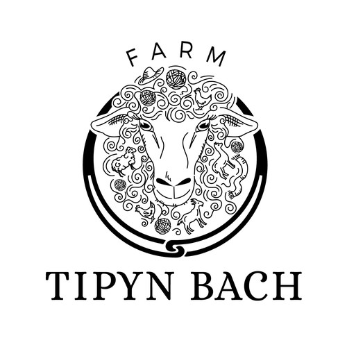 Hand drawn Logo concept for farm producing woollen goods