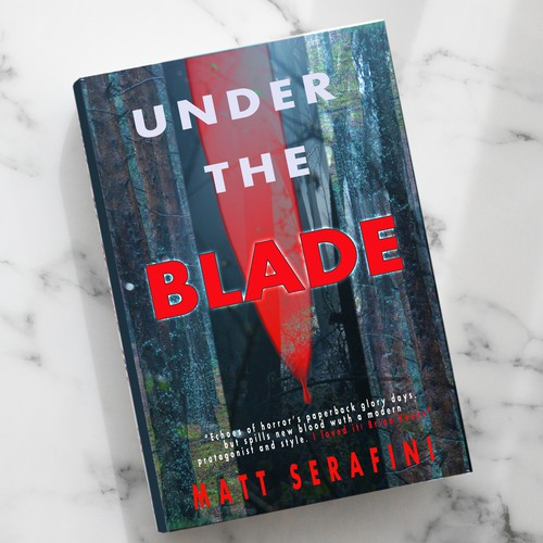 """Book cover design for the book """"Under the Blade"""""""