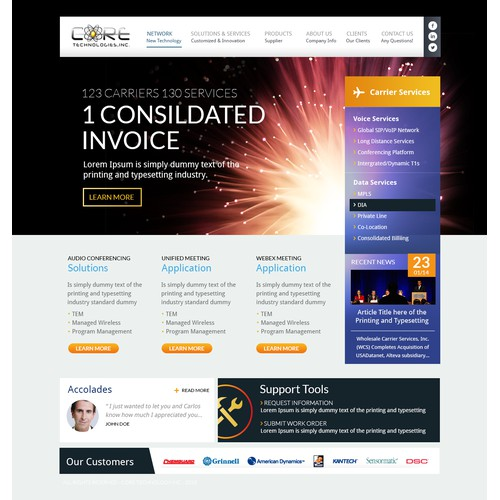 Create the next website design for www.coretechinc.com