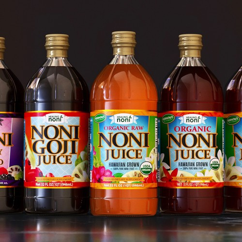 Mockups for an organic juice product line
