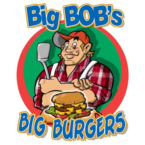 Create a cartoon figurehead for Big Bobs Big Burgers