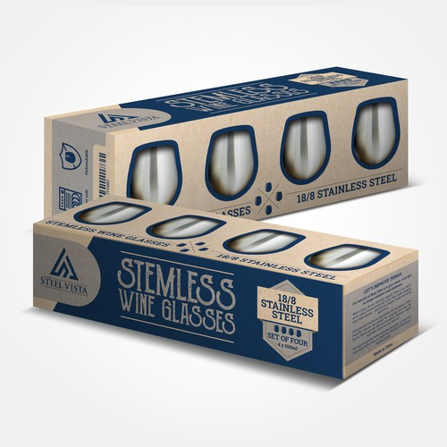 Steel Vista Wine Glasses Box