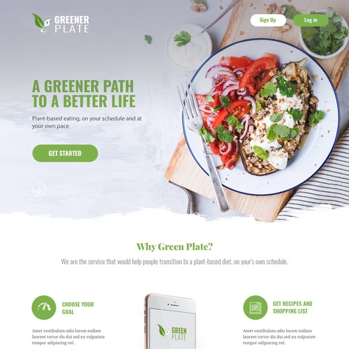 Landing page for a plant-based eating platform