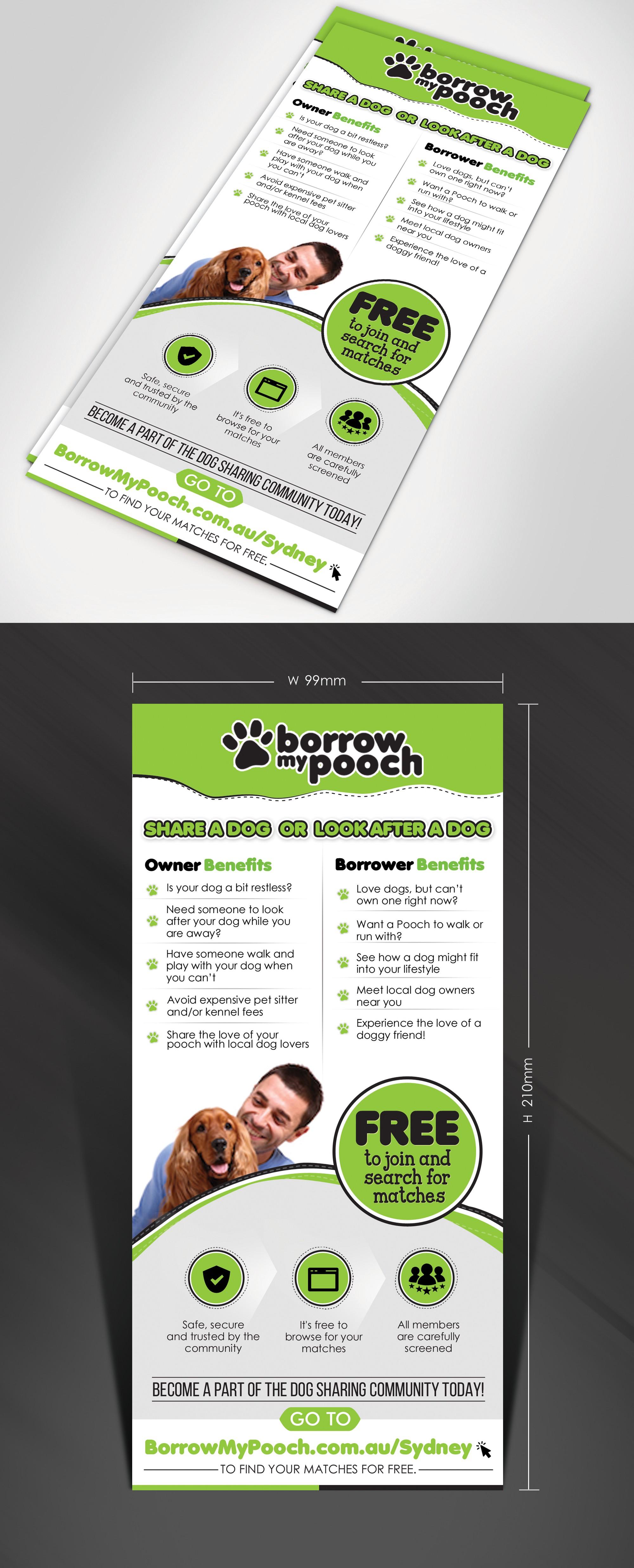 Design a Flyer to connect Dog lovers for BorrowMyPooch.com.au