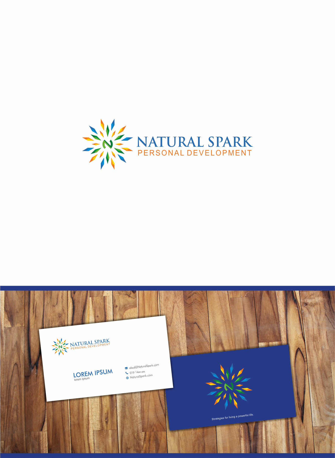 Create an inspiring logo and business card for new Personal Development start-up.
