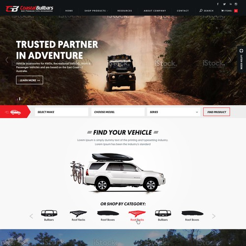 Design for a 4x4 Accessories Website