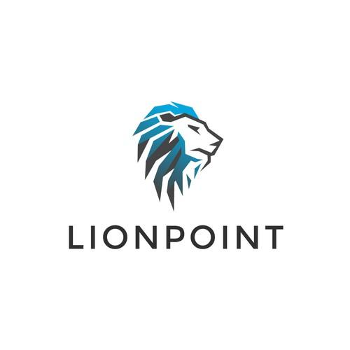 Modern, abstract lion head logo.