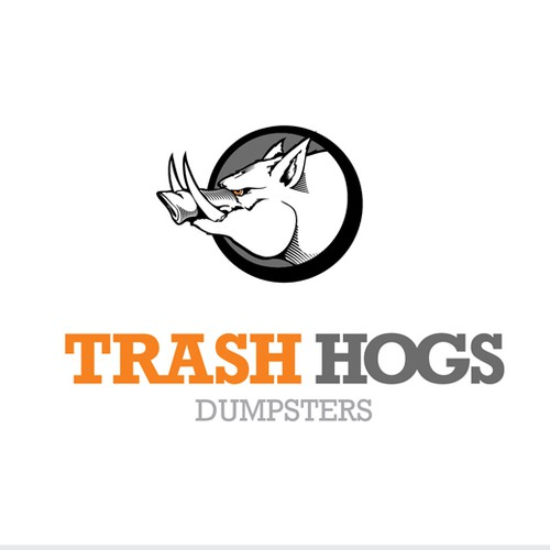 Create a fun design for a Roll-Off Dumpster business called Trash Hogs.