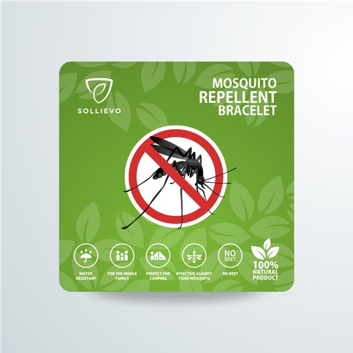 Mosquito Repellent Bracelet Label Design